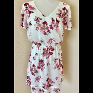 Floral A line mini dress white pink chiffon v neck